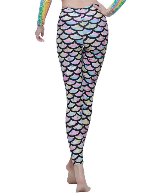 5c2ff34b89a64 Women Swim Tights Full Legs Sun Protective Swimwear Fish Mermaid Scales  Printed Leggings for Scuba Swim Yoga Snorkeling