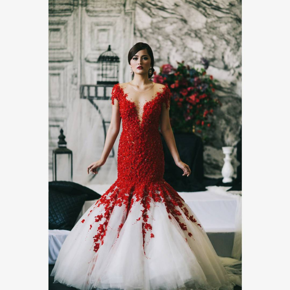 red and cream wedding dresses | Wedding