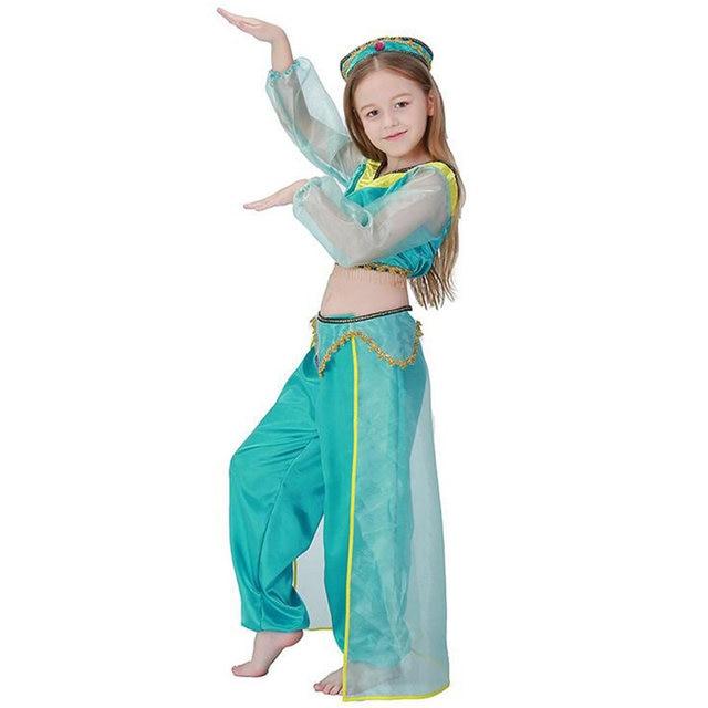 Halloween Girls Aladdinu0027s L& Princess Jasmine Costumes Cosplay for Children Party Belly Dance Dress Indian Princess Costume  sc 1 st  Aliexpress & Online Shop Halloween Girls Aladdinu0027s Lamp Princess Jasmine Costumes ...