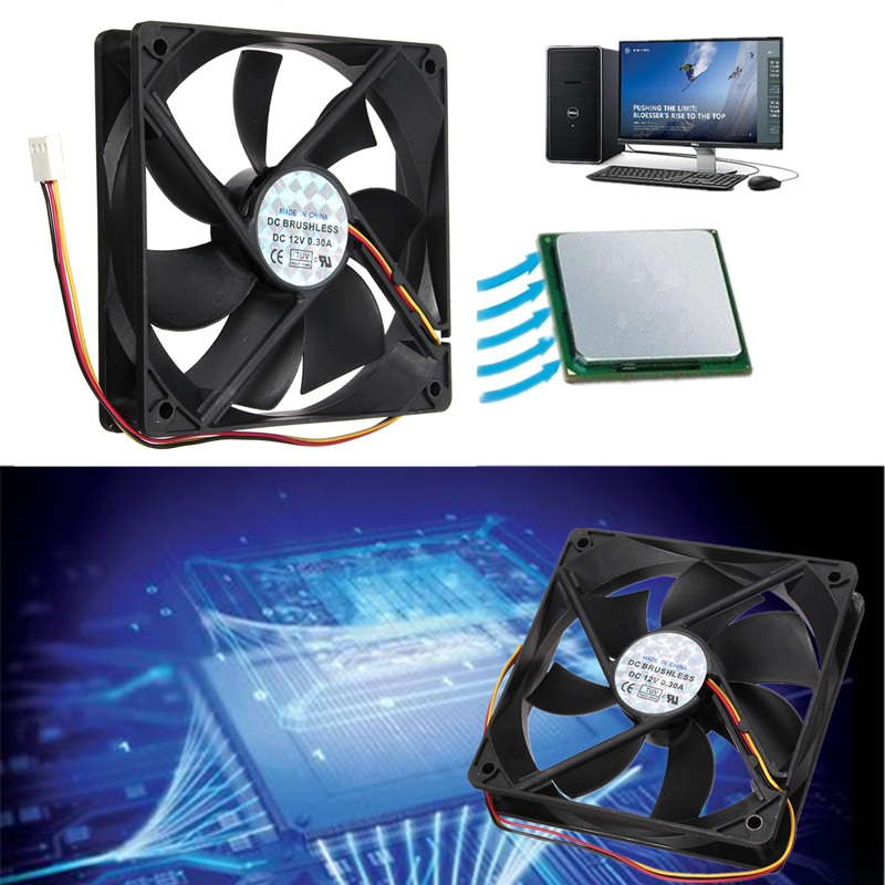 1pcs 120mmx120mmx25mm 3 Pin PWM Cooler Fan Heatsink Cooling Radiator 7 Fans CPU Cooling Fan Double 12V PC Computer Cooling Case 12v 2 pin 55mm graphics cards cooler fan laptop cpu cooling fan cooler radiator for pc computer notebook aluminum gold heatsink