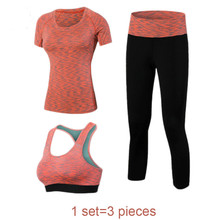 2017 3 Unidades de Las Mujeres de Fitness Yoga Set Camiseta y Sujetador y Pantalones cosechados Sport Set Gimnasio Ropa de Deporte desgaste Traje de Entrenamiento rápido seco
