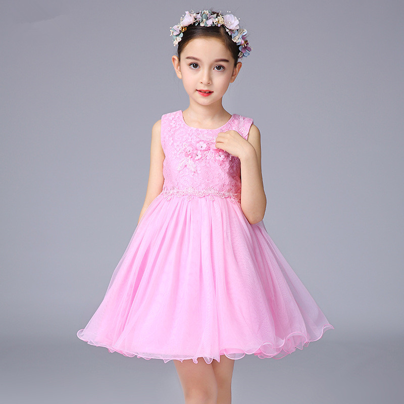 Girl 39 s flowers embroidered Lace princess dress elegant Girl 39 s party dress sleeveless wedding dress performance costume 3 9Years in Dresses from Mother amp Kids