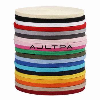 20Rolls 10mm Wide 50M Pure Color Tape Cotton Webbing Braided Strap Backpack Belt Herringbone Twill Cotton Tape H4560