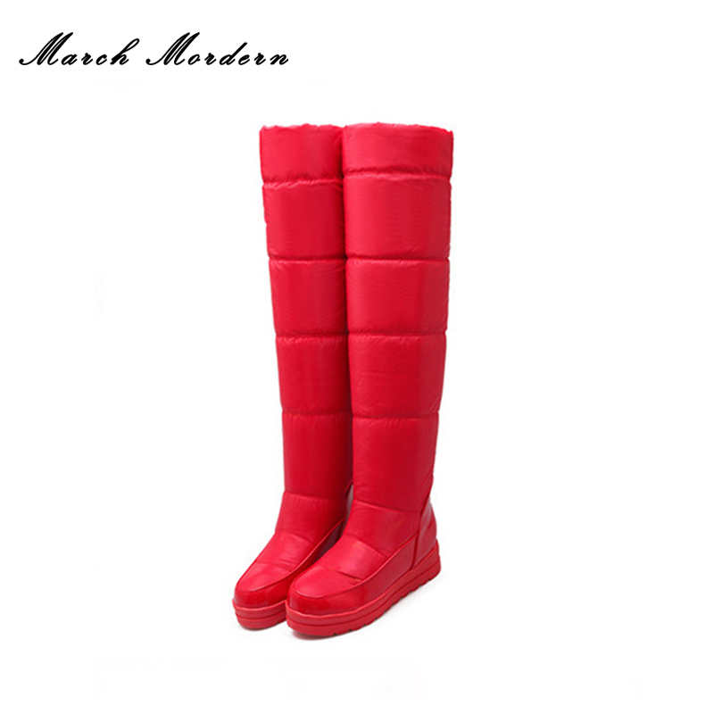 March Mordern Down Feather Slim Boots Sexy over the Knee High Women Snow Boots Womens Fashion Winter Thigh High Boots for Women