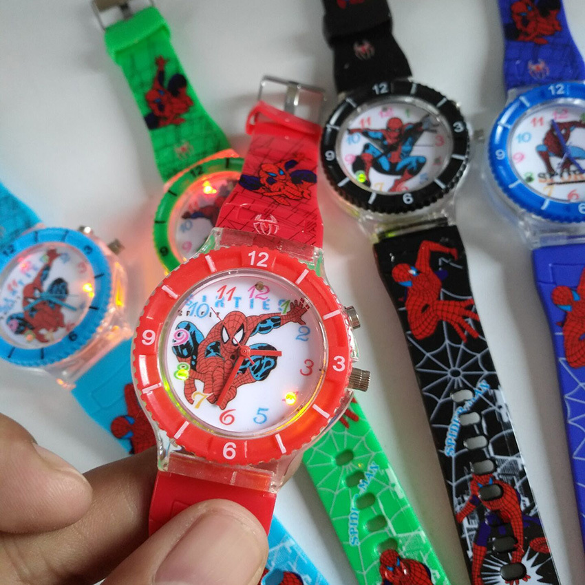 Anime Luminous Music Spiderman Kids Watch Children Quartz Watch Boys Girls Student Clock Sports Waterproof Child Watch Wholesale
