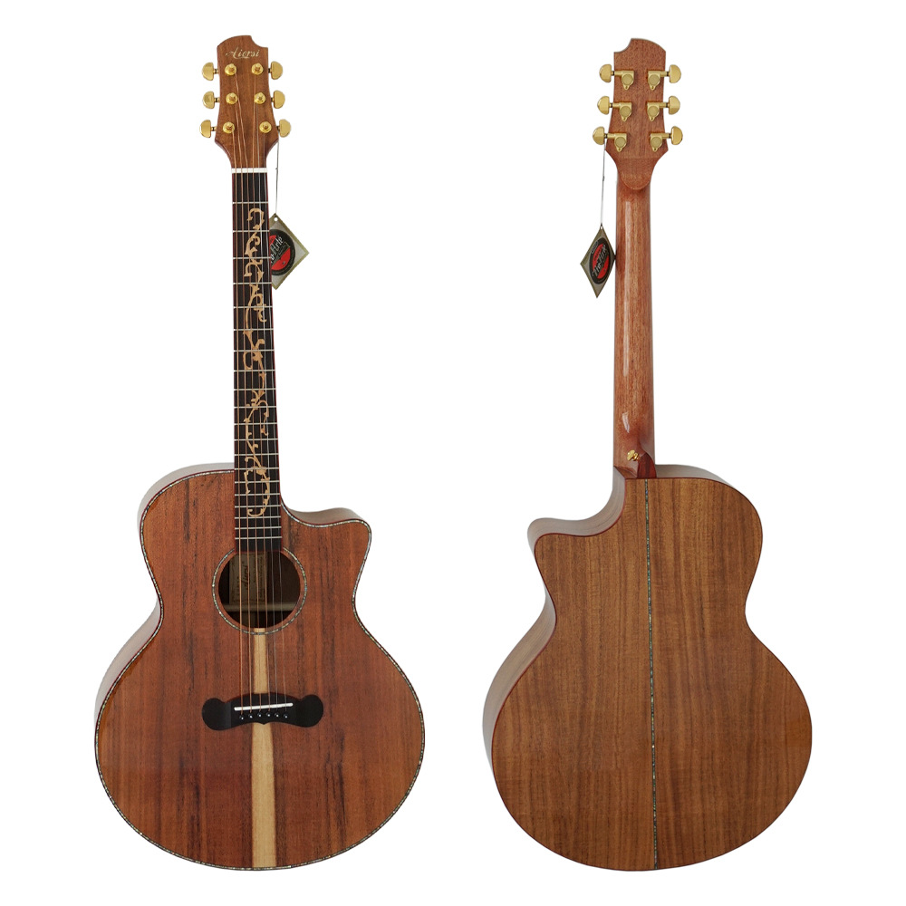 Tout Acacia simple planche ballade guitare 40 pouces débutant mâle et femelle général adulte doigt plaque sculpture classement avancé