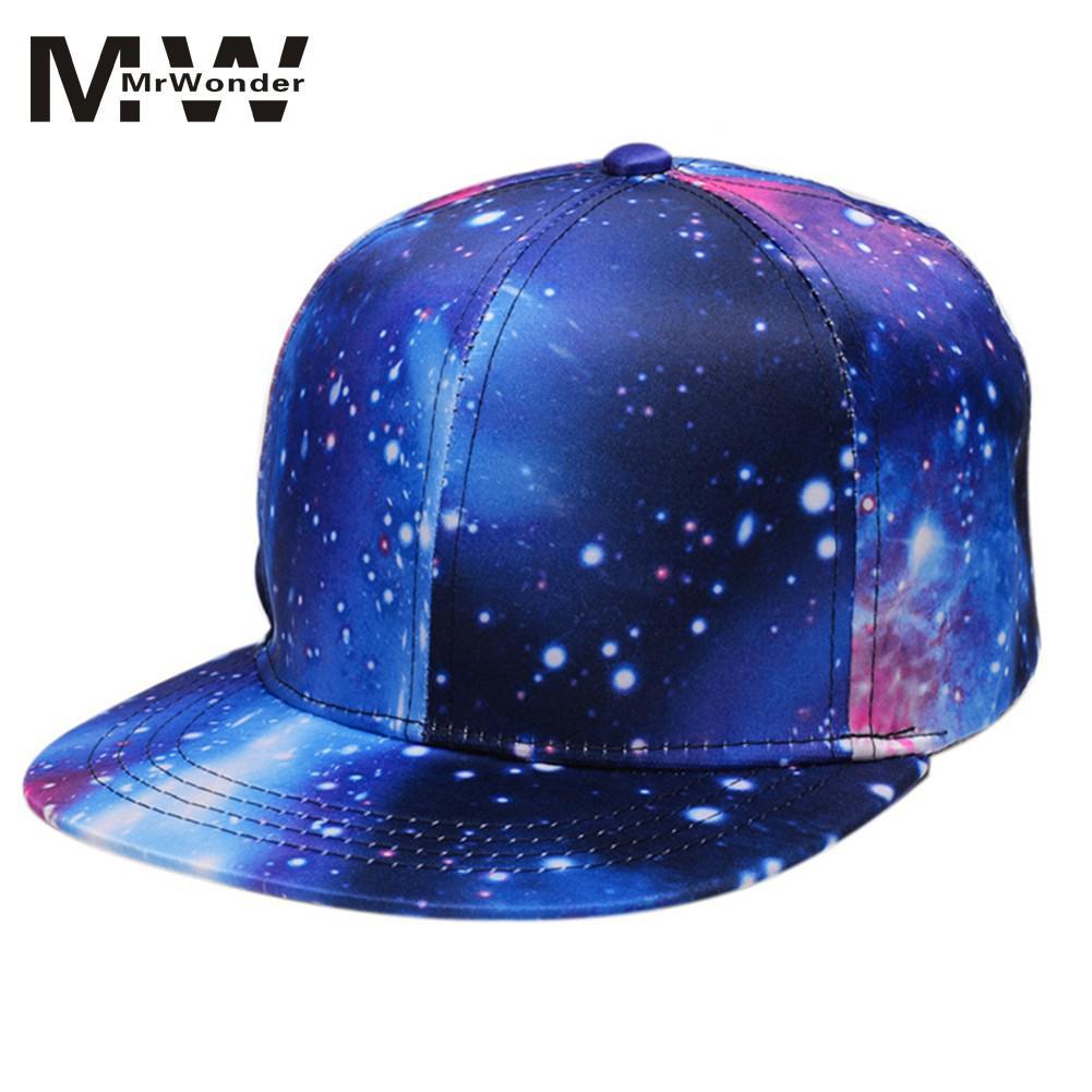 Blue Starry sky Caps Hip Hop Fashionable Summer Starry Sky Sunshade Hip-Hop Caps INS Hot Tide Teenager Hats YI0