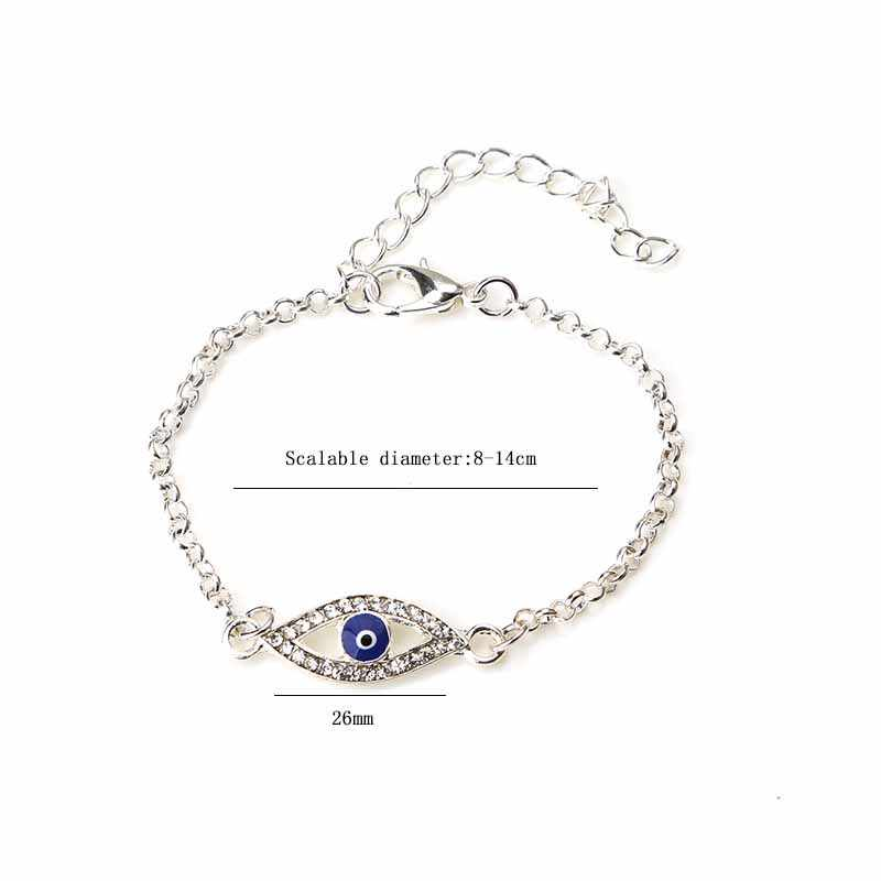 Горячая Распродажа! Синий кристалл сглаза проложили серебряный сплав браслет турецкий браслет