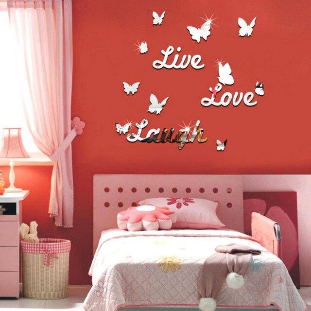 3D Butterfly Mirror Wall Sticker DIY Wall Art Stickers Kids Living ...