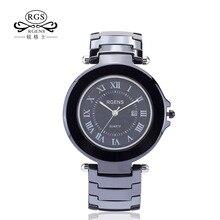 RGENS verdadero Original De Cerámica relojes de pulsera de los hombres relojes de cuarzo negro blanco pulsera de hombre de moda casual impermeable número 5509