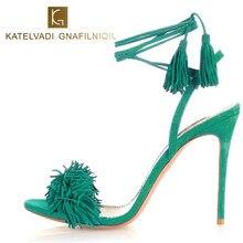 Verano Sandalias de Las Mujeres zapatos de Tacón Alto Fringe Gladiador Sandalias Mujeres Atan Para Arriba Zapatos de Mujer Sandalias de Las Señoras de Cuero de Gamuza Verde B-0064