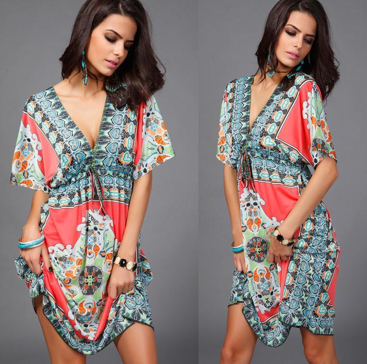 Lady New Bohemian Summer Style Damer Kortærmet Deep V-hals Afslappet - Dametøj - Foto 4