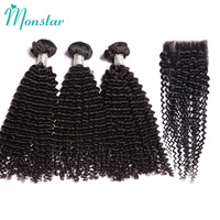 Monstar Brazilian Kinky Curly Weave Human Hair with Closure Cheap 2/3/4 Piece Brazilian Weft Remy Hair Bundles with Lace Closure
