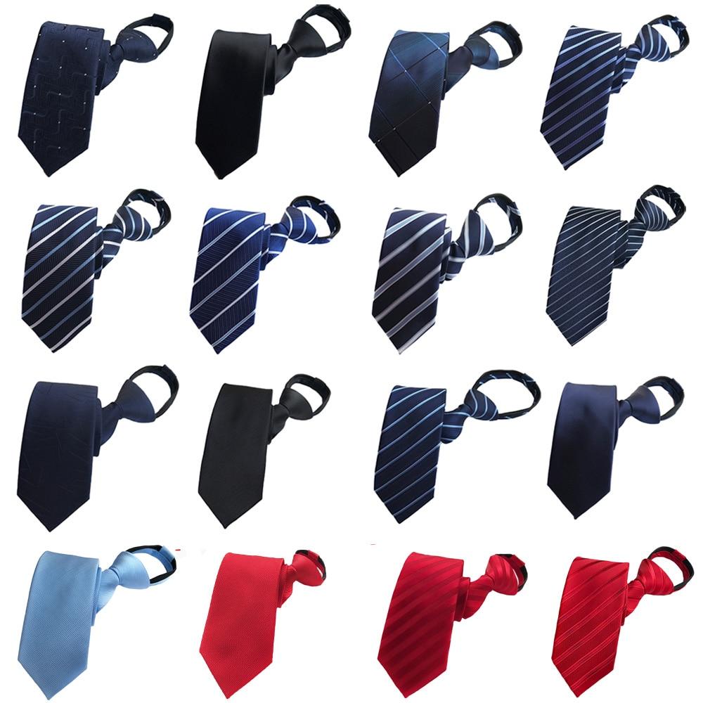 Men Business Striped Wide Zipper Necktie Wedding Party High Quality Pre-tied Tie BWTHZ0313