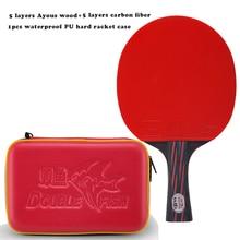 Новинка, ракетка для настольного тенниса из углеволокна красного и черного цвета с двойной рыбой, ITTF, одобренная резиновая петля, быстрая атака с водонепроницаемой сумкой