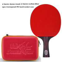 2018 New Double Fish Red Black Carbon fiber Table tennis racket paddle ITTF approved rubber loop fast attack with waterproof bag