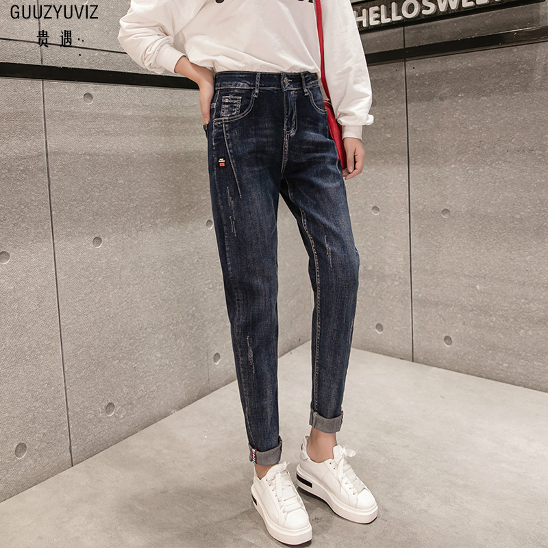 Bottoms Women's Clothing Guuzyuviz Vintage Casual Autumn Winter Jeans Woman Scratched Washed Cotton High Waist Patch Work Denim Pants Mujer Strong Packing