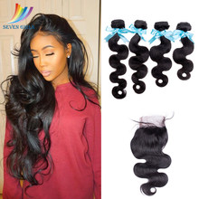 Sevengirls Body Wave 4 Bundles With Closure Peruvian 10A 100% Virgin Human Hair Free Shipping Hair Extensions With 4x4 Closure(China)