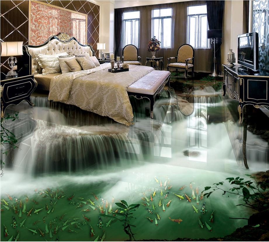 wasserfall fototapete mural boden foto boden tapete 3d stereoskopischen kundenspezifisches foto. Black Bedroom Furniture Sets. Home Design Ideas