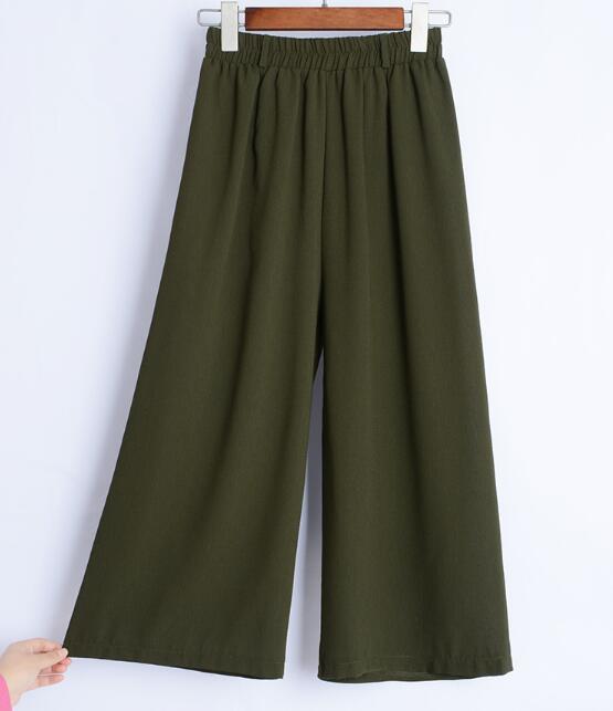 Women Wide Leg Pants Vintage Elastic Waist Trousers Casual Cotton Oversized Long Pants Korean Chiffon Wide Leg Pants in Pants amp Capris from Women 39 s Clothing