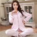 Nova chegada das senhoras do algodão pijamas sleepwear comprimento total calças de pijama mulheres roupa de dormir de manga comprida cor sólida M-XXL 2 cores