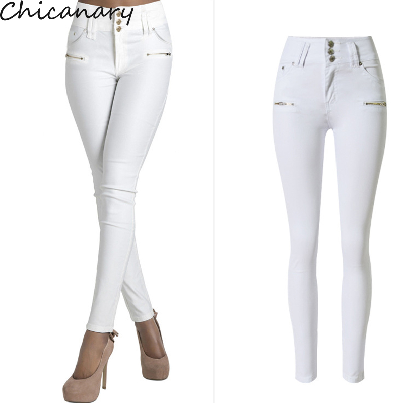 2016 Autumn Women Fashion White High Waist Stretchy Slim Denim Pants Casual Skinny Jeans Pencil Pants