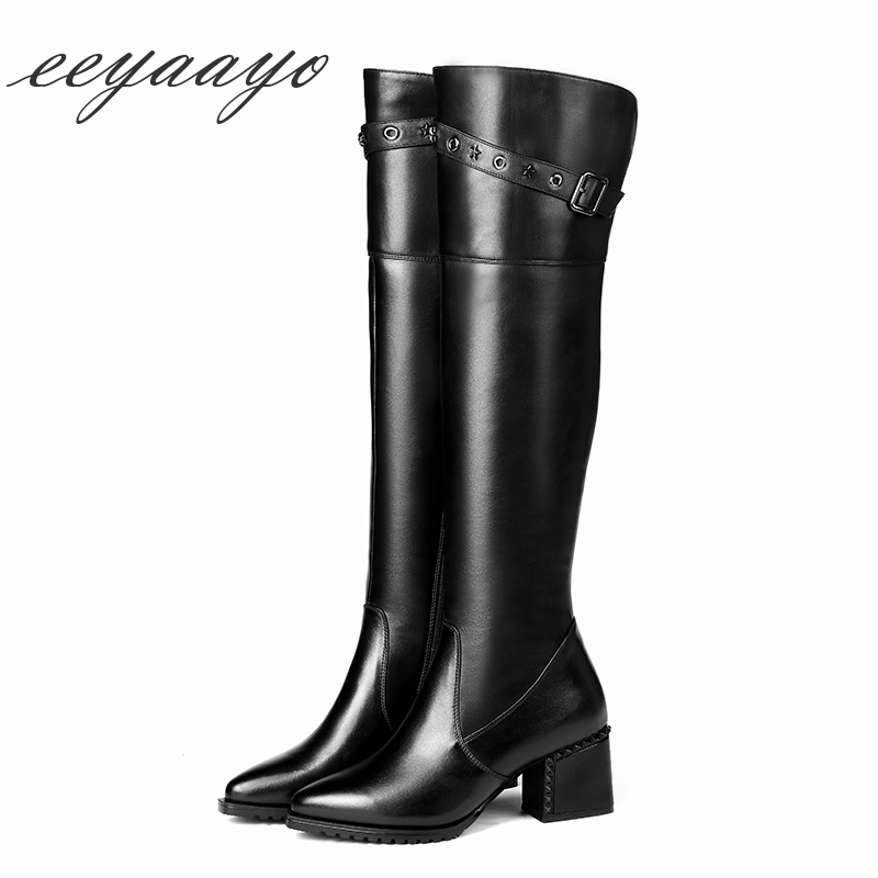 2018 New Winter Genuine Leather Women Knee-High Boots High Heel Pointed Toe Zipper Sexy Women Cow Leather Shoes Black Long Boots