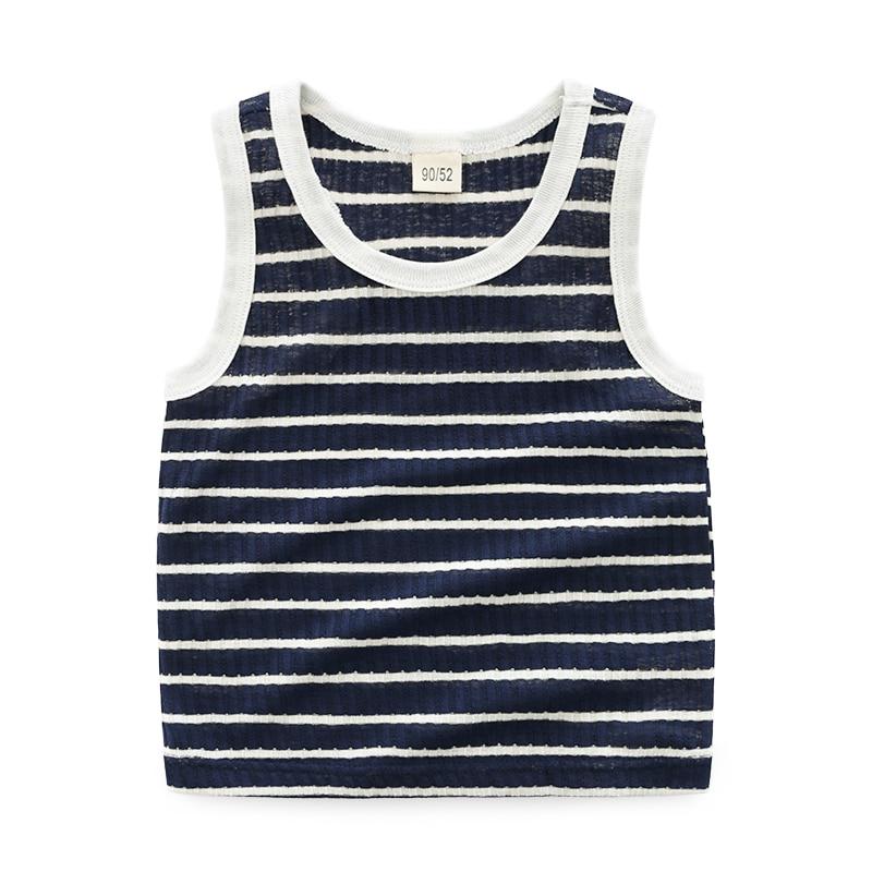 Striped Pattern 2018 Hot Summer Unisex Kids Clothing Sleeveless Cotton Tshirts Boys Girls Children Top Tee T Shirt Casual Style