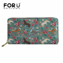 FORUDESIGNS Wallets Women Crazy Horse Printing Long PU Leather Purse for Femme Fashion Money Bag Ladies Coin Pocket Daliy Wallet