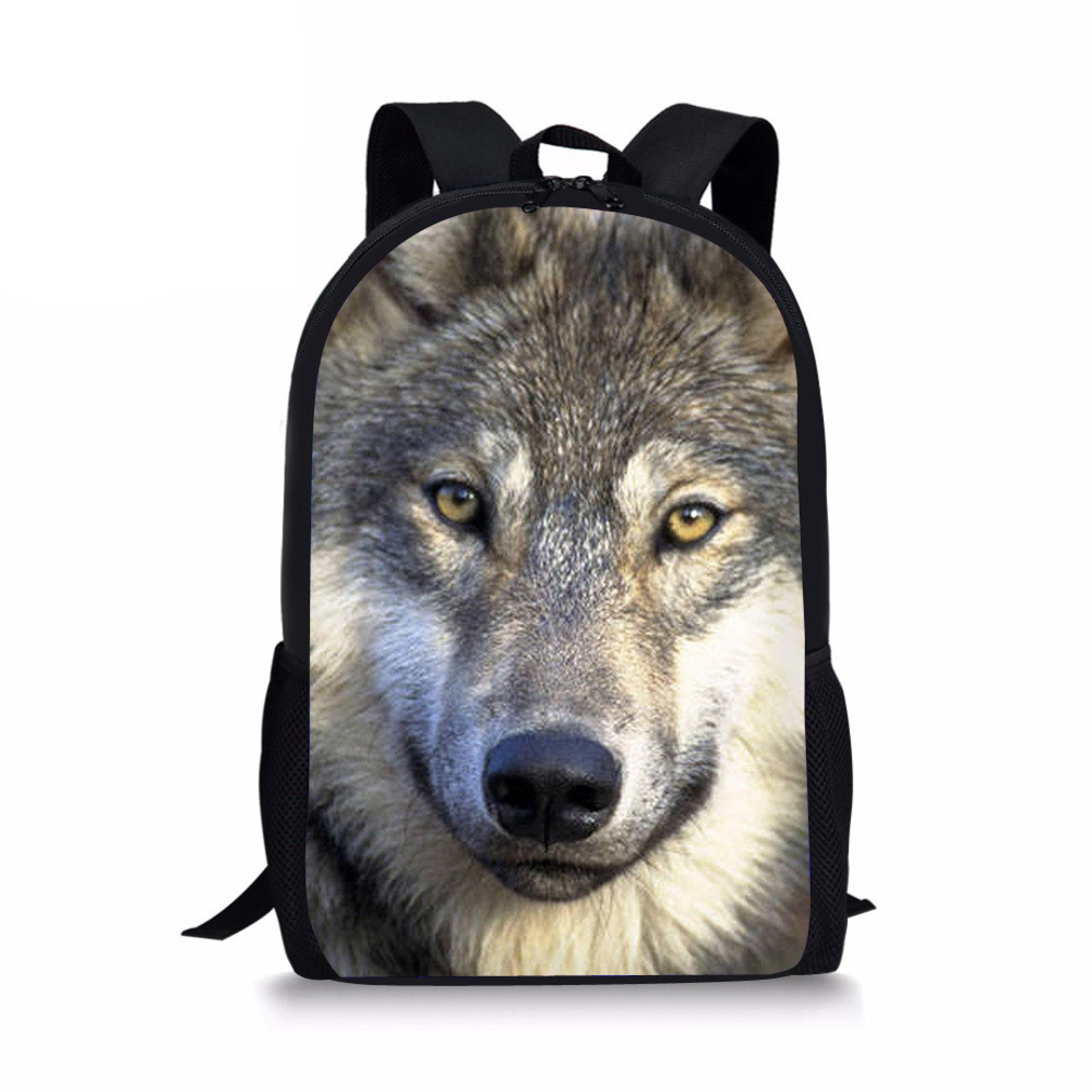 3D Wolf Printing Primary School Bags Children Orthopedic Design School Backpack Boys Bookbags Shoulder Bolsa Escolar