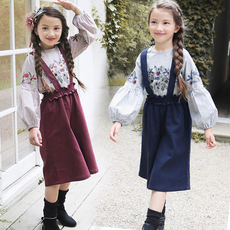 2018 New Children Baby Girls Clothing Set Kids Suits for Girls Cotton Children Tracksuits Blouses + Jumpsuit Sets Costumes 13 14
