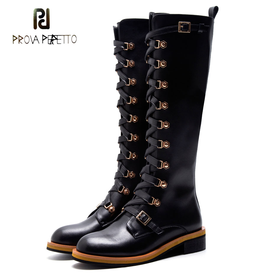 Prova Perfetto 2018 New Women Knee High Boots Metal Buckel Belt Cross Strap Thick Bottom Military Boots Women Motorcycle Boots