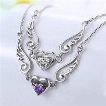 Collier ailes d'ange d'amour en forme de cœur pour femme, plaqué argent, cadeau fantaisie, romantique, bijoux de déclaration
