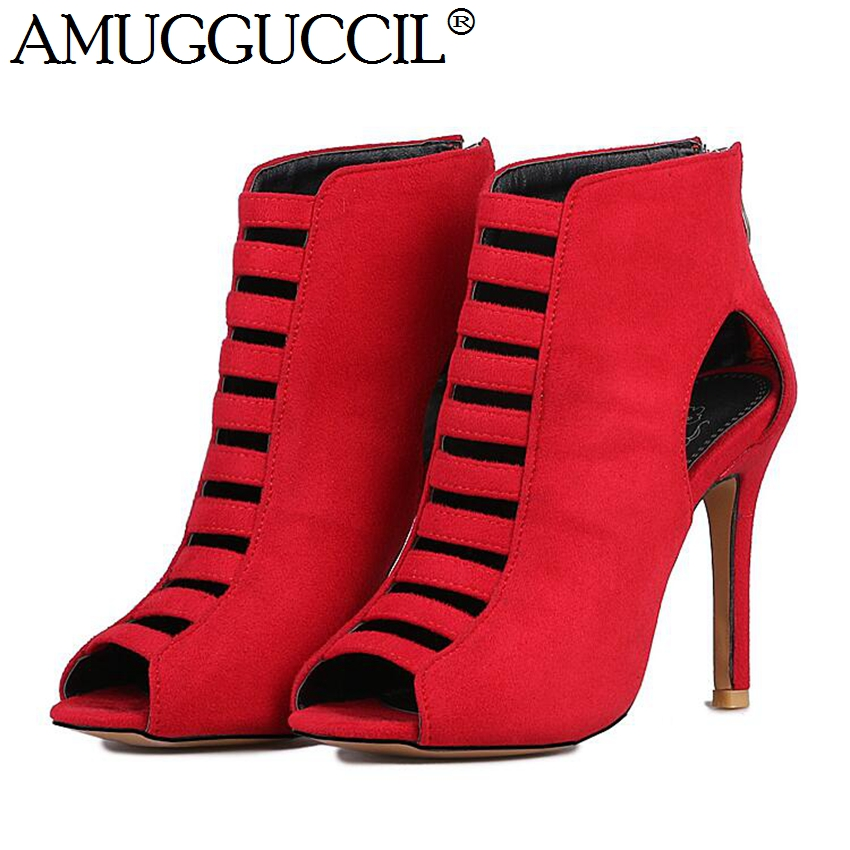 2018 New Plus Big Size 32-46 Black Red Blue Zip High Heel Spring Autumn Girls Females Lady Ankle Women Boots X1640