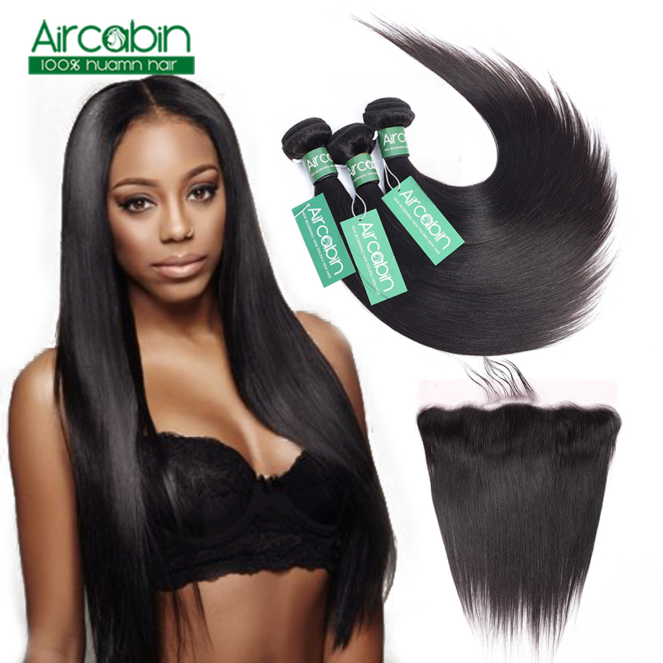 Peruvian Straight Hair Bundles With Frontal Human Hair 3 Bundles with Ear to Ear Lace Frontal