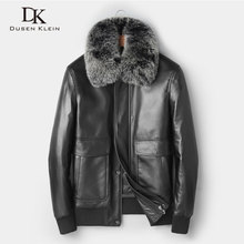 Men Genuine Leather Jackets Winter Warm Leather Down Coat Sheepskin thick Jacket Fox fur Collar