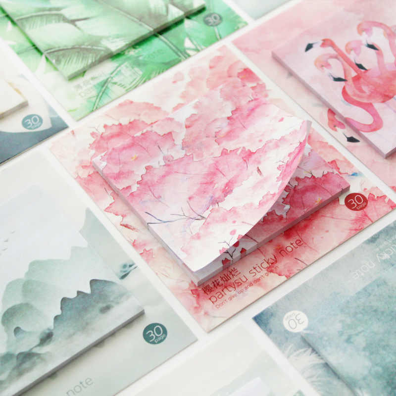Mohamm 30 hojas flor de cerezo Flamingo planificador pegatinas notas adhesivas Memo Pad Kawaii papelería Memo Pad nota Pad Oficina