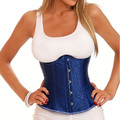S-3XL Plus Size Blue Corset Top For Women Underbust Waist train Corset Body Shaper Underbust Corset And Bustier With Lace Up
