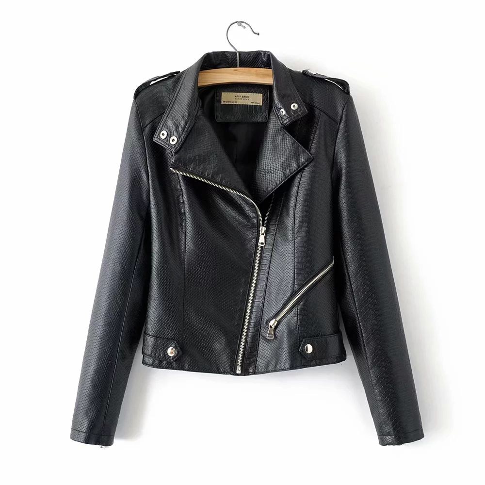 fashion women PU   Leather   jackets for office ladies black bomber short jacket street-wear girls cool bikers coats feminine chic