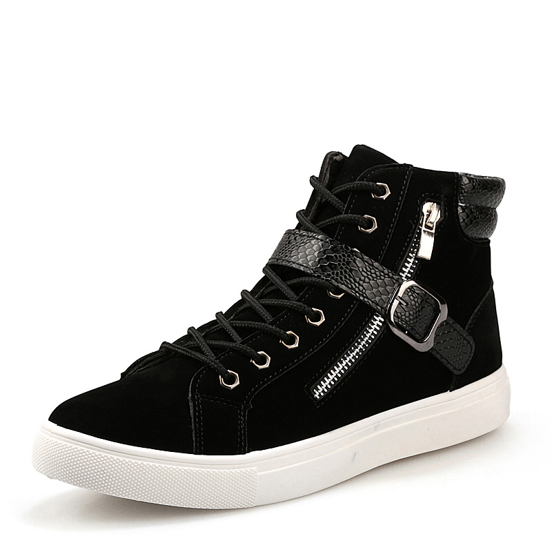 ФОТО New 2017 fashion men boots brand design men ankle boots casual flock PU patchwork punk rock chain high top flat shoes for men