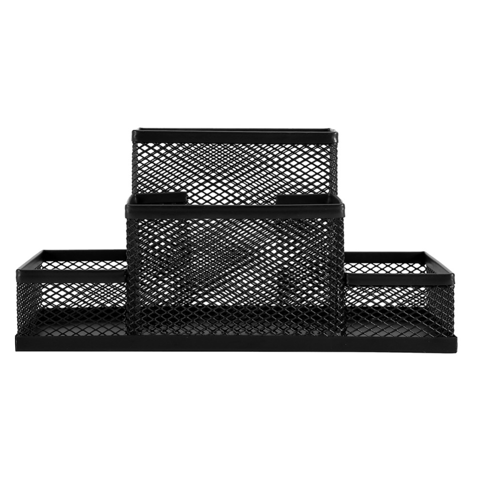 Black Cube Metal Stand Mesh Style Pen Pencil Ruler Holder Desk Organizer Storage Box Organizer