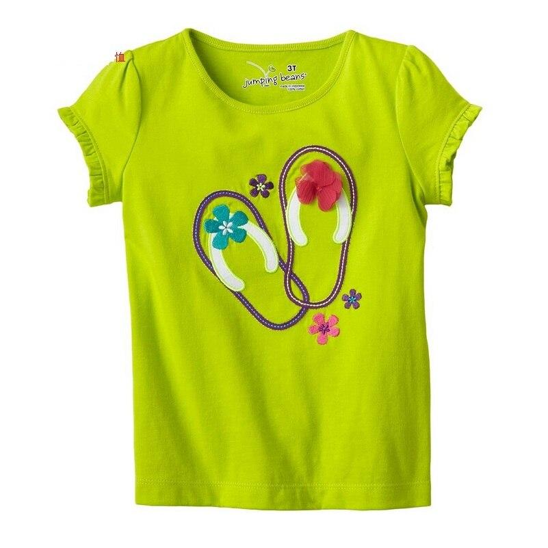 Jumping Beans 2017 Summer Girls T-Shirts Green Fashion Sandal Floral Children Tees Shirts Tops Retail Girl Clothes 100% Cotton jumping beans костюмы