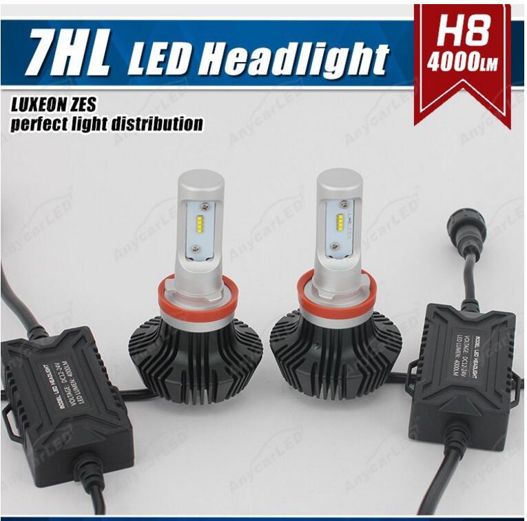 1 Set H8 50W 8000LM G7 LED Headlight Kit LUMILED LUXEON ZES 16LED SMD Chips Fanless 6500K Xenon White Driving Fog DRL Lamp Bulb 1 set 9012 hir2 50w 4000lm 5s led headlight kit lumiled luxeon zes 12led smd chip fanless 6500k driving fog lamp bulb hid haloge