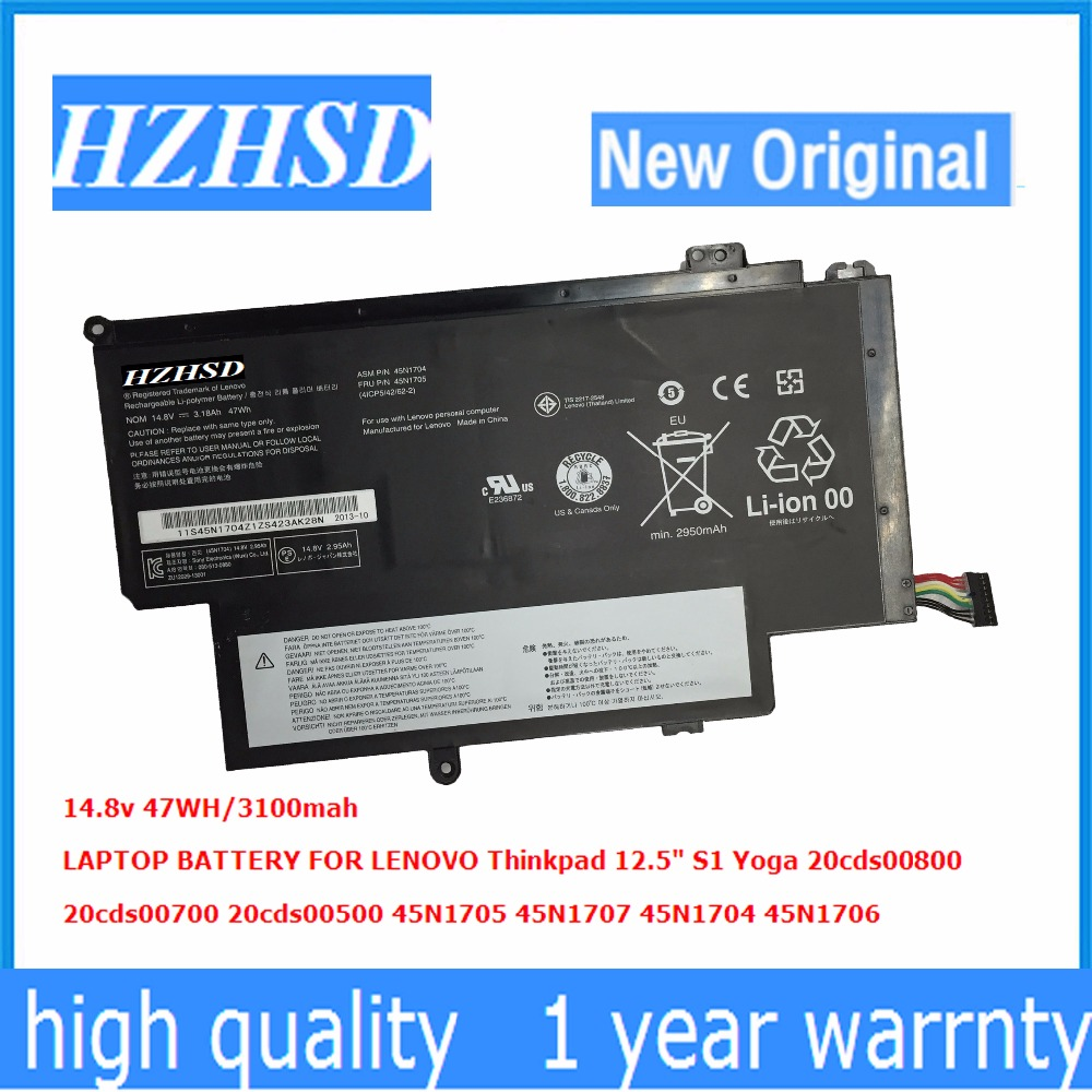 14.8V 47Wh New Original Laptop Battery for Lenovo Thinkpad 12.5 YOGA S1 45N1704 45N1707 45N1705 10 8v 5 2ah genuine new laptop battery for lenovo thinkpad t400 t61 t61p r61 r61i r400 14 42t4677 42t4531 42t4644 42t5263 6cell