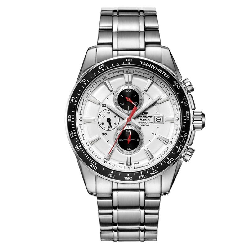 Casio men's watch three-eye steel belt 50 meters waterproof men's quartz watch EF-547D цена и фото
