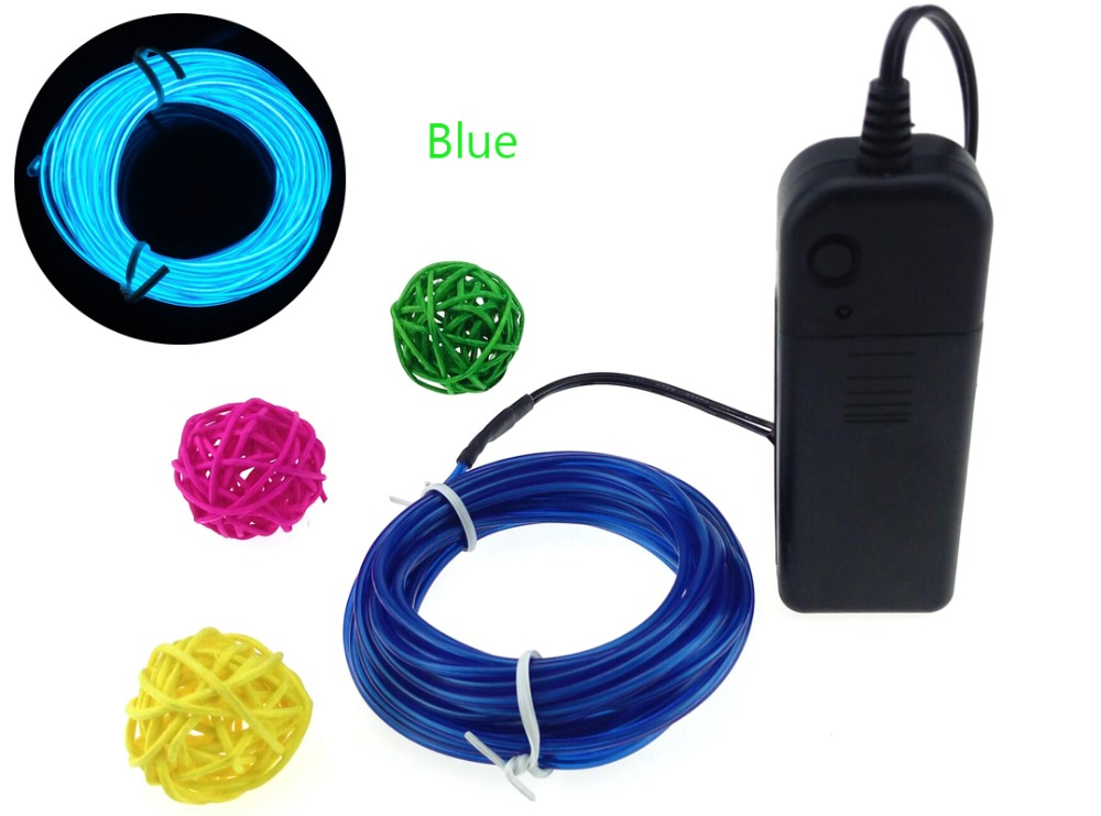 9FT 3M Flexible EL Wire Tube Rope AA Battery Powered Flexible Neon ...