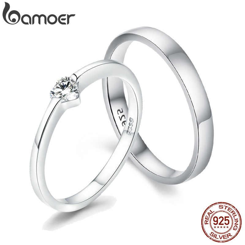 BAMOER シルバーハートカップルリング女性のための 925 スターリングシルバー Love 婚約結婚式の宝石類のギフト彼女小さなリング GXR468