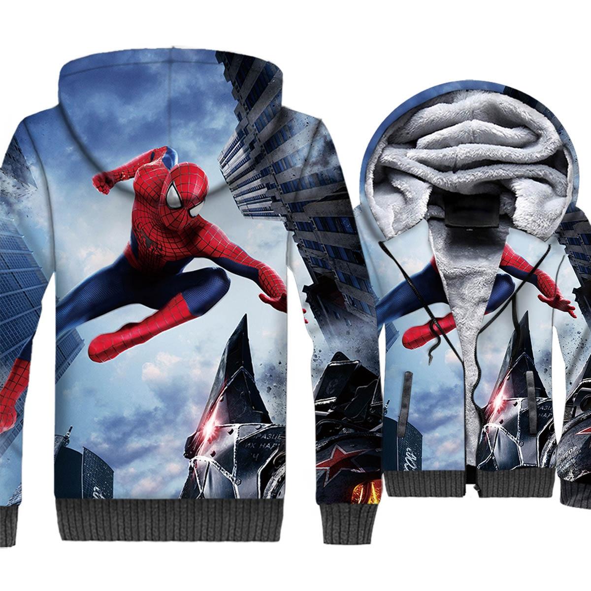 Spiderman 3D Hoodies 2019 Autumn Winter Jackets Men Fashion Thick Fleece Warm Sweatshirt Plus Size Men's Hooded Casual Tracksuit