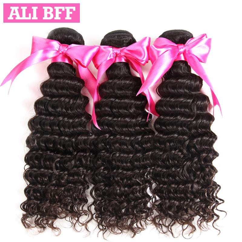 ALI BFF Deep Wave Bundles Natural Black Color Malaysian Hair Weave Bundles Remy Hair Extension 100% Human Hair Bundles
