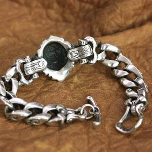 Image 2 - Linsion detalhes 925 prata esterlina leão corrente masculino biker rock punk pulseira ta146